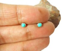 Small Round TURQUOISE  Sterling  Silver  925  Gemstone  Stud Earrings - 3 mm