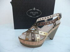 luxury PRADA Size 37,5 Platform Ankle-strap sandal Cork Shoes Shoes bronze new