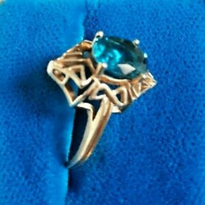 Details about  /1.60 Carat London Blue Topaz Ring in 10K White Gold ctw
