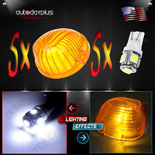5X Cab Roof marker 9069A Amber Round Cover+194 5050-SMD White LED Bulb for Chevy