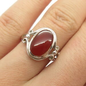 925 Sterling Silver Vintage Real Carnelian Gemstone Ring Size 7 1/4