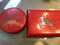 Lot 2 RED Vintage Japanese Lacquer Bento Box Container Oval Mt. Fuji MOP Pegasus