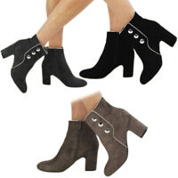 New Women's Ladies Ankle Boots Faux Suede Zip High Block Heel Party Shoes Size