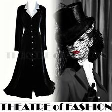 VINTAGE LAURA ASHLEY DRESS VELVET SILK COAT 10 8 VICTORIAN RIDING 30s MISTRESS
