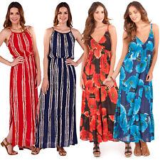 Vestido de noche Crossover de amapola a rayas de algodón pistacho para Mujer Largo Maxi verano