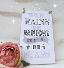 Handmade Plaque When It Rains Look For Rainbows Inspirational Sign