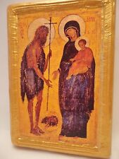 Saint John The Baptist Madonna & Child  Athos Greek Orthodox Byzantine Icon