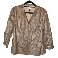 Chicos Womens Jacket Brown Alligator Print Zip Up Lined Flap Pockets L/12 NWOTs