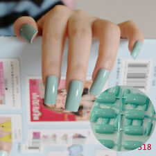 Super Long Fasel Nail Tips Light Green Candy Flat Fake Nails Press-On Nails 318L