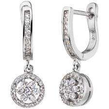 Creolen 925 Sterling Silber mit Zirkonia Ohrringe Ohrhänger Silberohrringe