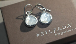 SILPADA RARE Hammered Sterling Silver 925 Faceted Mother of Pearl Earrings W1674