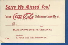 AO-045 - Vintage Coca-Cola Salesman's Missed You Card Ridge Bottling Co