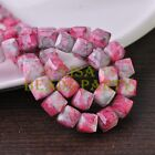 New 10pcs 10mm Cube Square Faceted Glass Loose Spacer Colorful Beads Lotus Red