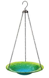 """Evergreen Colors of The Sea Hanging Glass Bird Bath and Feeder - 11.25""""L x 11..."""