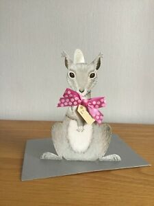 3d Squirrel with spotted bow Happy Birthday card
