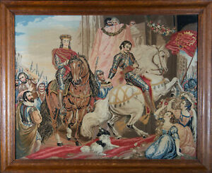 Large 19th Century Needlepoint - The Return of the Chevaliers