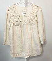 Malvin I Love Linen Medium Top Shirt Blouse Button 3/4 Sleeve Crochet
