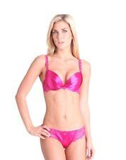 Splendour Hot Pink Satin Plunge Bra 34B Thong 14 RRP £36