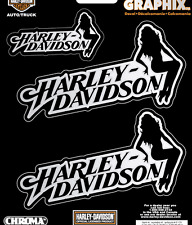 HARLEY DAVIDSON PIN UP GIRL CHROME DECAL 3 PC DECAL