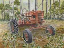 old tractor watercolor farm painting art print tractors antique vintage drawing