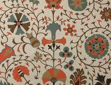 "BALLARD DESIGNS TIMUR ORANGE SUZANI FLORAL GEOMETRIC FABRIC BY THE YARD 55""W"