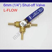 "3 Way Tee Brass Y Shut off Ball Valve 5//16/"" 8mm Barb Fuel Gas Oil Valve Clamp CE"