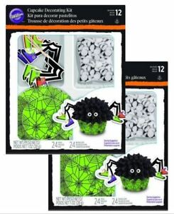 2 Wilton Cupcake Spider Green Cup Cake Decorating Kit 24 Sets Halloween Party
