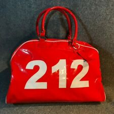 Loud Fire Engine Red Trumpette Area Code 212 Patent Leather Duffle Gym Bag