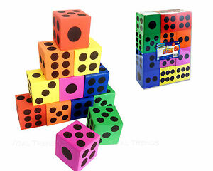 12 Eva Foam Dice D6 Six Sided Spot Dice Kids Game Soft Learn &  Play Blocks Toys