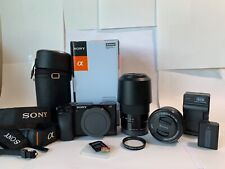 Used Sony Alpha α6000 Camera Kit 16-50mm & 55-210mm lens w/ accessories