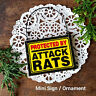 Wooden Ornament * PROTECTED BY ATTACK RATS * Mini Sign Rat  New  USA Gag Gifts