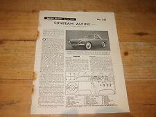 Trader Service Data for Sunbeam Alpine (Series 1)