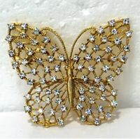 1900's Vintage Sparkly Rhinestone Open work Butterfly Gold Tone Brooch Pin