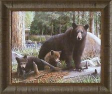 NEW DISCOVERIES by Kevin Daniel 20x24 FRAMED PRINT PICTURE Bear Cubs Black Bears