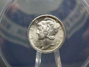 """1944 """"D"""" Mercury Silver Dime 10c ANACS MS63 FB East Coast Coin & Collectables"""