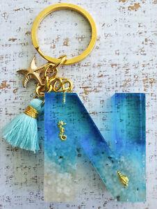 LETTER 'N' BEACH INSPIRED KEY RING / CHAIN
