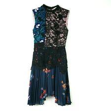 NEW Self Portrait Sz 0 Mini Dress Nina Black Blue Lace Floral Pleated Sleeveless