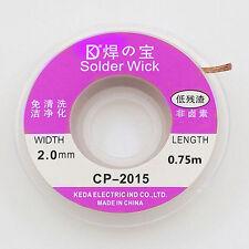 2.5ft/0.75m 2.0mm Desoldering Braid Solder Remover Wick Copper Spool Wire Roll