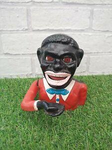 VINTAGE JOLLY BLACK MAN CAST IRON MONEY BOX BANK WITH MOVING ARM TONGUE EYES