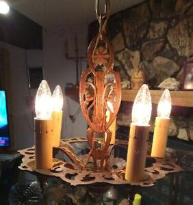 Antique Art Nouveau Hanging Lamp Fixture RESTORED Polychrome Cast Chandelier