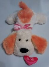 """Kellytoy Puppy Dog Orange White Plush Pink Love Heart In Mouth Laying Down 12"""""""