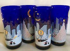 NORITAKE COBALT BLUE TWAS THE NIGHT BEFORE CHRISTMAS GLASSES TALL 15 OZ SET OF 4