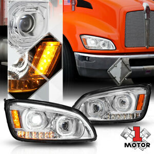 Chrome Projector Headlight[DUAL LED DRL+SIGNAL]for 08-19 Kenworth T170/T270/T300