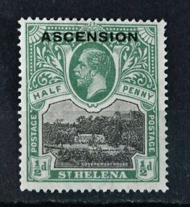 ASCENSION, KGV, 1922, 1/2d. black & green value, SG 1, LMM condition, Cat £8.