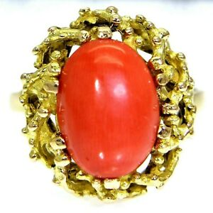 Vintage Coral Reef 18ct Yellow Gold Ring size N ~ 6 3/4