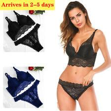 Women's Lace Floral Push Up Bra Set Bralette with Panties Cute Underwear Briefs