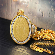 """& 24"""" Cuban Chain Necklace 152G Gold Stainless Steel Cz De Guadalupe Pendant"""