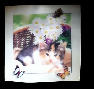 cat basket butterflies 5D Lenticular  Holographic Stereoscopic Picture Wall Art