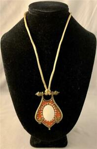 NECKLACE with OPALESCENT CENTER STONE by ANNE KOPLIK NEW FROM OLD STOCK