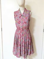 Vintage Retro 70s Sleeveless Shirt Dress Sz 8 S Floral Button Front Full Skirt
